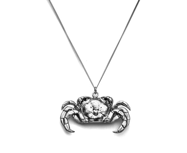 silver crab necklace