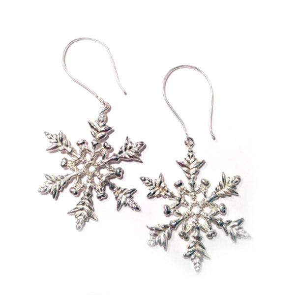 snowflake earrings in silver