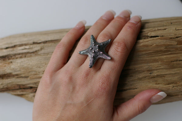 Starfish Ring Silver Front