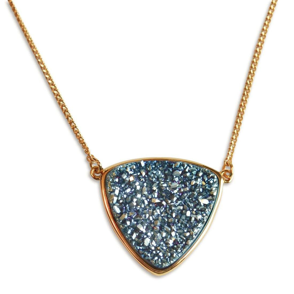 turquoise triangle druzy necklace
