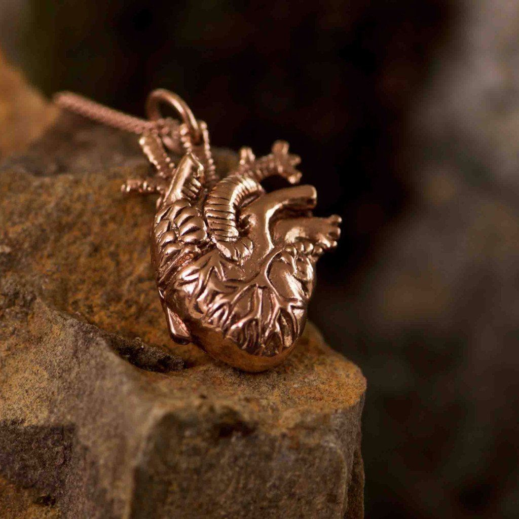Small Rose Gold Anatomical Heart Pendant Necklace