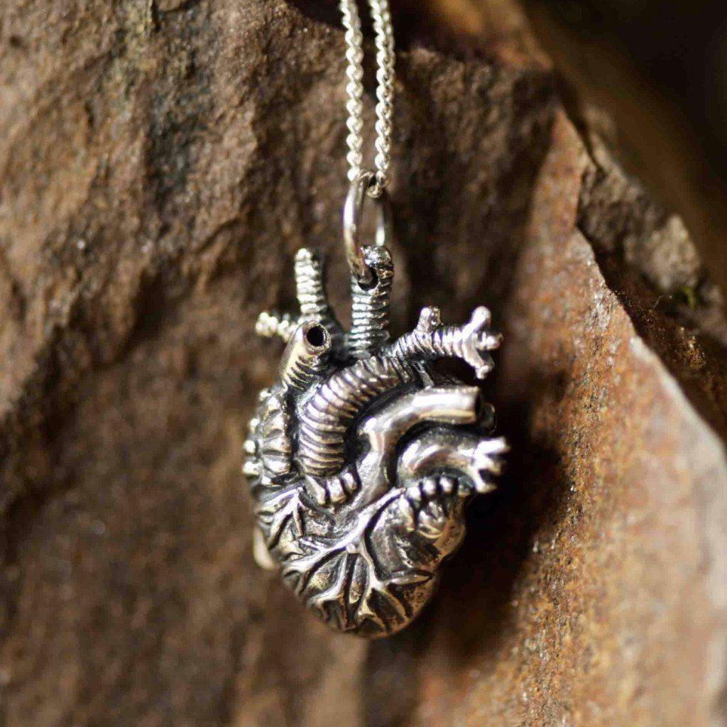 Small Sterling Silver Anatomical Heart Jewelry