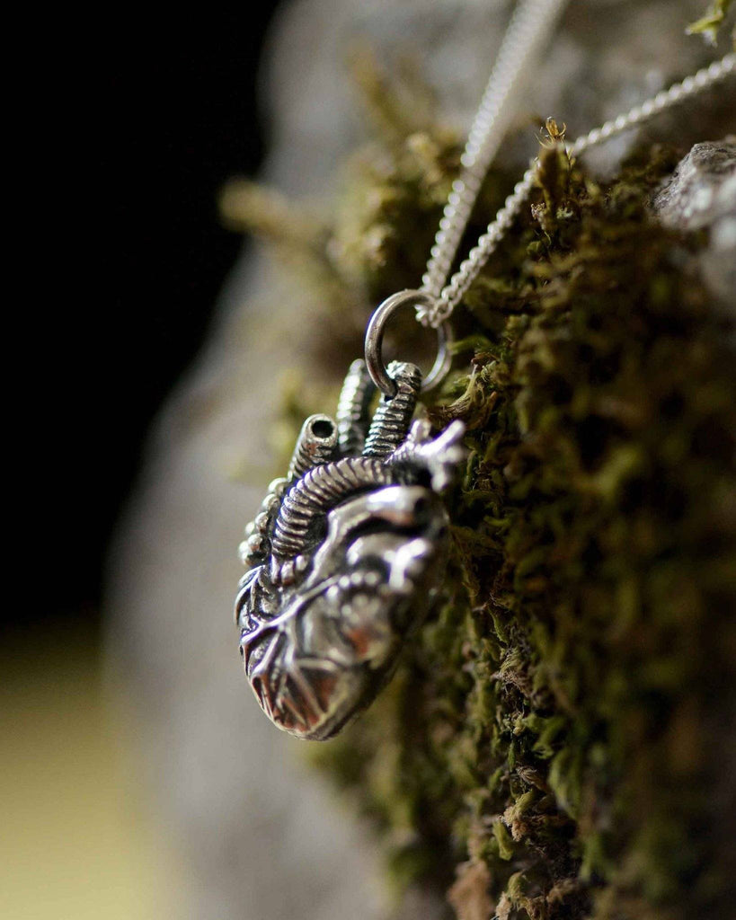 Tiny Anatomical Heart Pendant (solid silver)