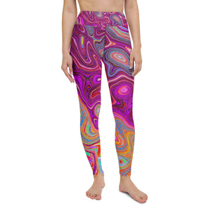Fashion Printed Yoga Pants Psychedelic Retro Rainbow Blue Hibiscus Fitness and Workout Leggings for Women Leggings