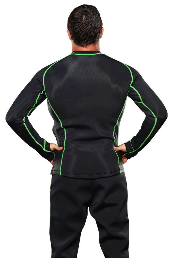 Men's Long Sleeve Neoprene Sauna Shirt Back Rear