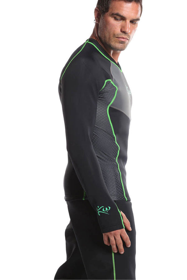 Men's Long Sleeve Neoprene Sauna Shirt Side
