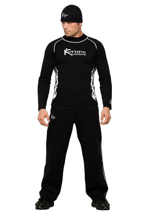Men's Neoprene Sauna Suit Shirt Pants Hat Outfit