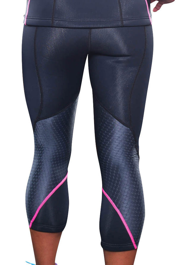 Women's Neoprene Sauna Capri Pants Rear Back