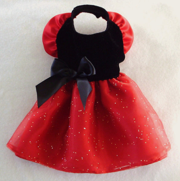 Black Velvet Red Satin Dress
