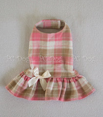 Pink and Tan Cozy Plaid Dress (Clearance)