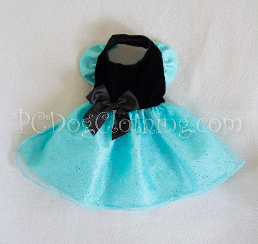 Black Velvet Aqua Satin Dress