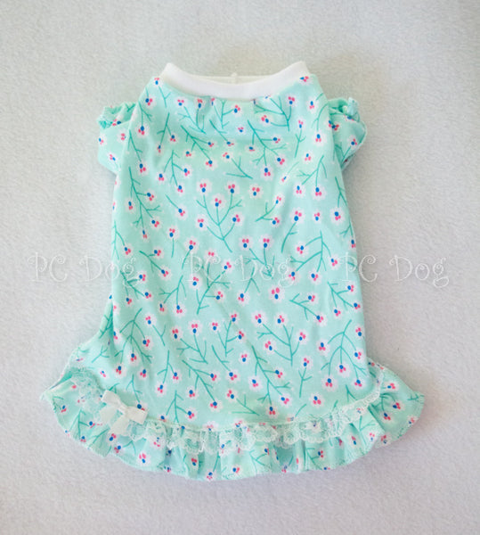 Mint Flowers Nightgown Short Sleeves