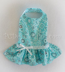 Aqua and Lace Bandana Print Dress