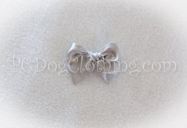 Silver Satin Hair Bow