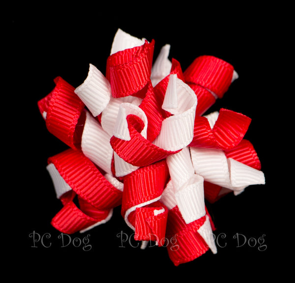 Red and White Curly Hair Bow