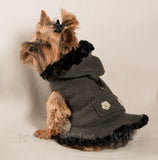 Gray and Black Fleece Coat