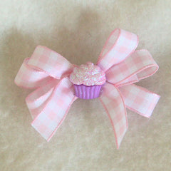 Pink Cupcake Gingham Hair Bow
