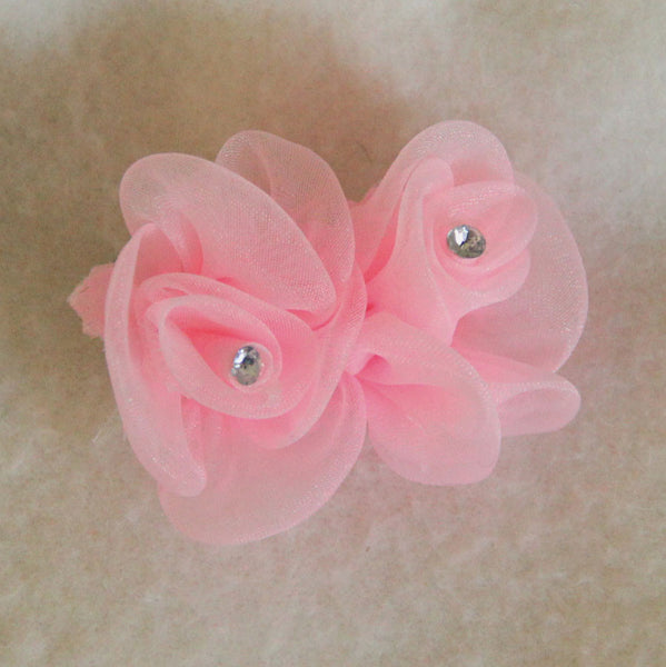 Baby Pink Rosebuds Hair Bow