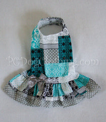 Dropwaist Teal Patchwork Dress
