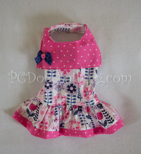 Navy and Pink Collared Dress