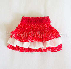Red and White Layers Skirt