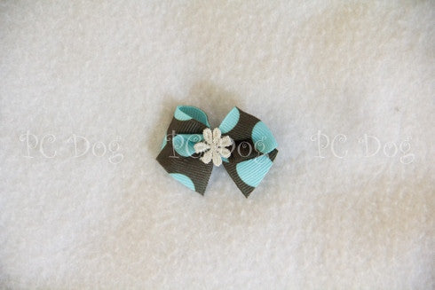 Aqua and Brown Hair Bow