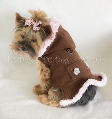 Brown and Pink Fleece Coat