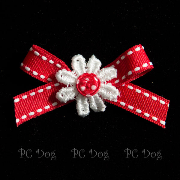 Red and White Daisy Hair Bow