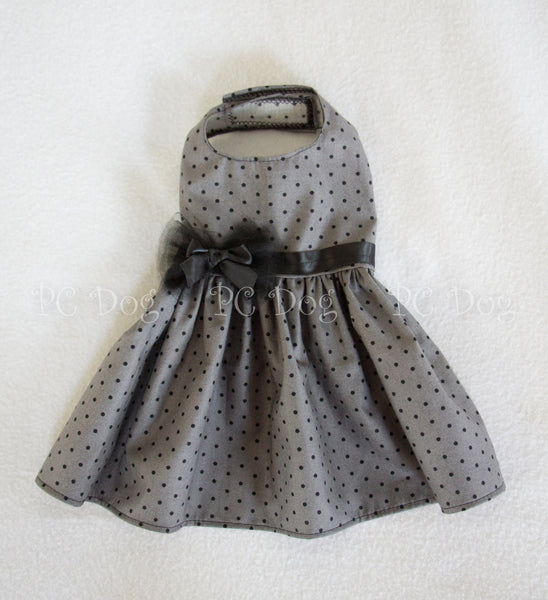 Gray and Black Dot Dress