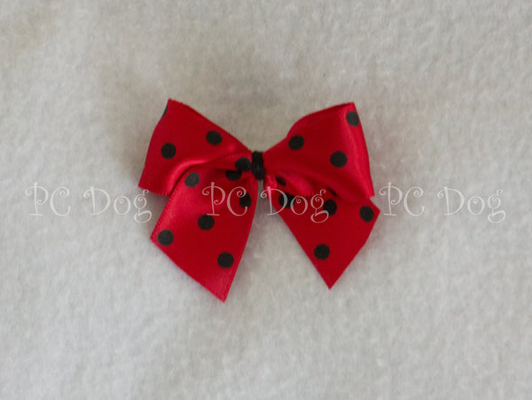 Red and Black Dot Hair Bow