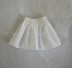 White Denim Long Pleated Skirt