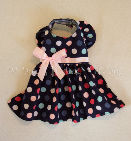 Navy and Pink Dot Dress