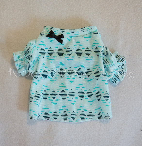 Turquoise Diamond Puffy Sleeves T Shirt