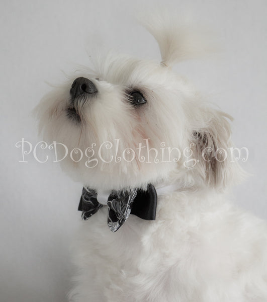 Black and White Floral Bow Tie / Head Band