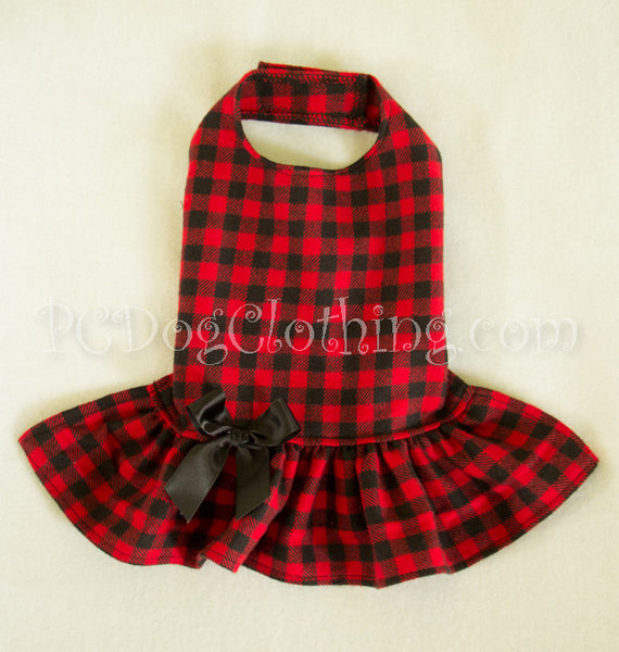 Soft Red and Black Checked Dress (Clearance)