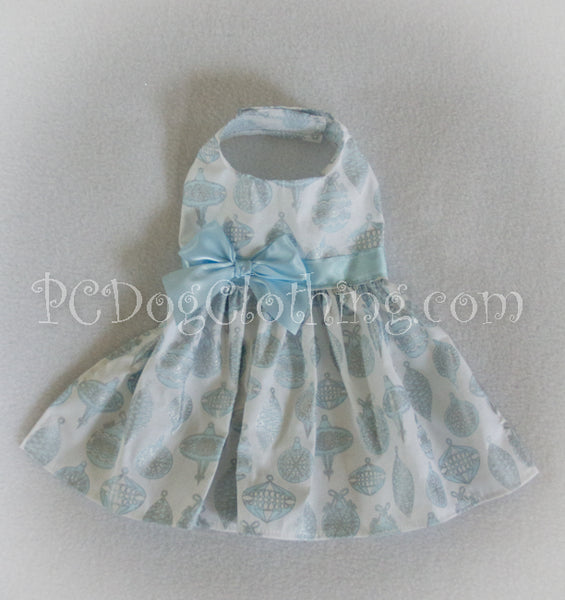 Blue Ornaments Christmas Dress