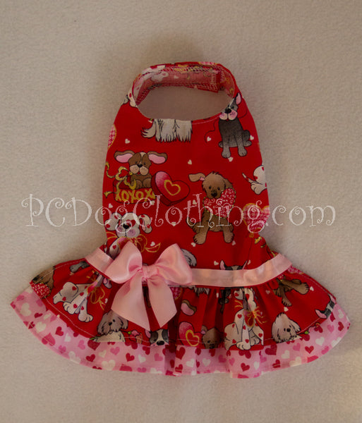 Red and Pink Puppy Love Valentine Dress