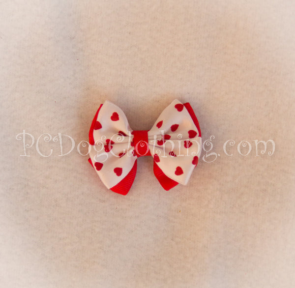Red Hearts Hair Bow