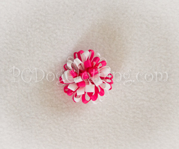 Bright Pink and White Loopy Hair Bow SLB4