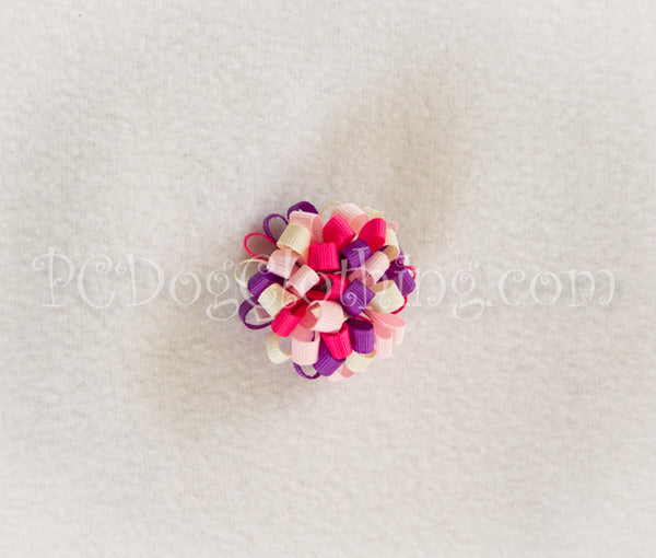 Ivory, Purple, and Pink Loopy Hair Bow SLB10