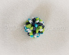 Navy, Aqua, and Lime Loopy Hair Bow SLB20