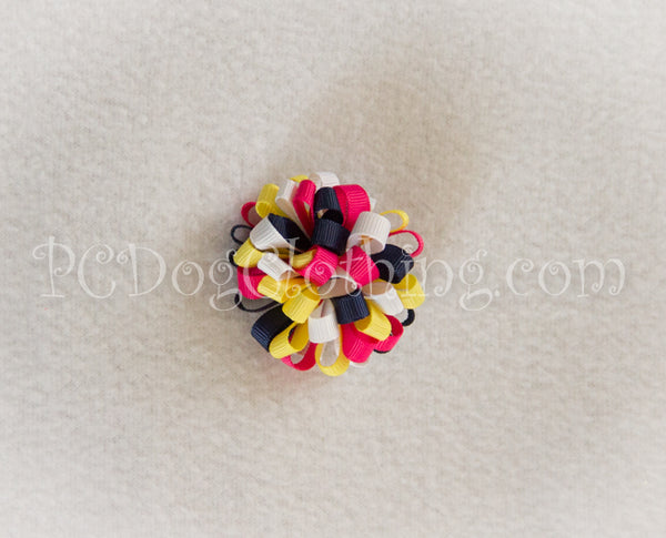 Navy, Pink, and Yellow Loopy Hair Bow SLB22