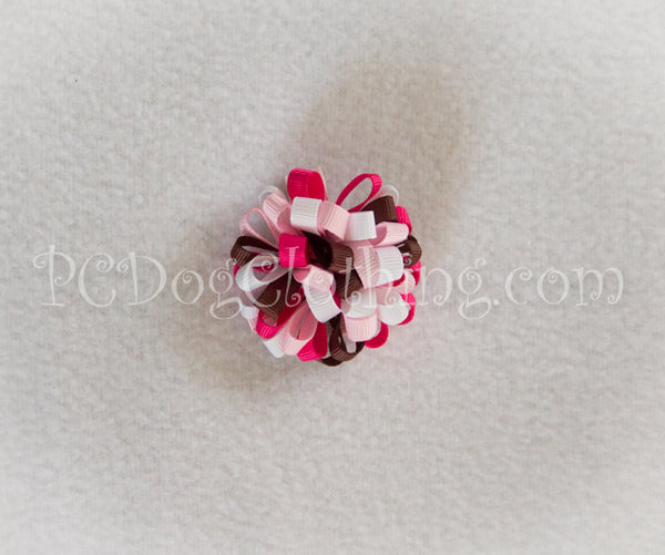 Brown and Pinks Loopy Hair Bow SLB35