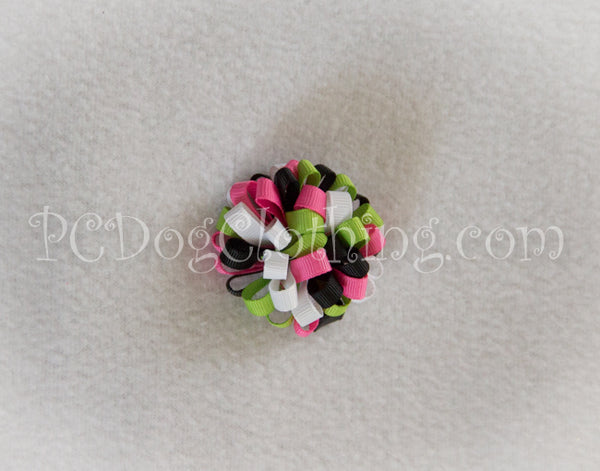 Black, Pink, and Lime Loopy Hair Bow SLB43