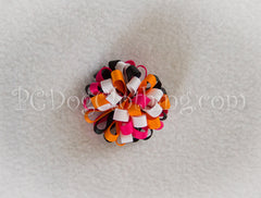Black, Orange, and Pink Loopy Hair Bow SLB44