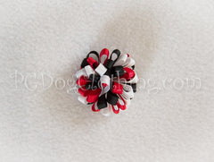Black, Red, and White Loopy Hair Bow SLB48