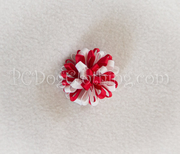Red and White Loopy Hair Bow SLB50