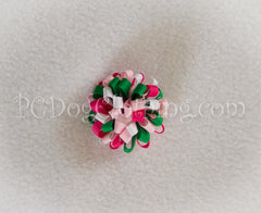 Green, White, and Pinks Loopy Hair Bow SLB54