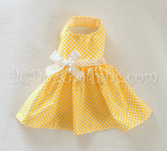 Yellow and White Dot Dress