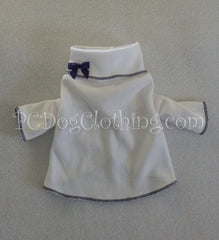 Navy Trimmed White Turtleneck (Clearance)